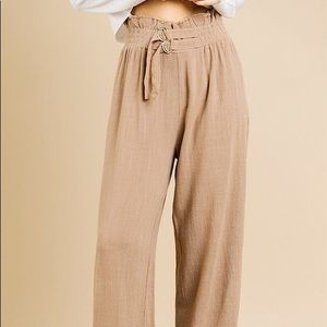 Pants - Linen Blend High Waist Paperbag Wide Leg Pant